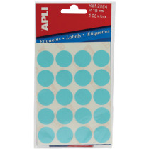 Etiketten Pochet Apli Blauw 19Mm Diam (100St) 5Vellen