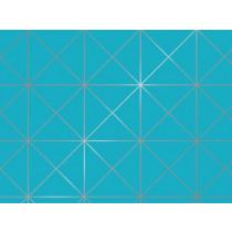 Inpakpapier metallic 50m x 50cm Rotalia Turquoise Geometrisch