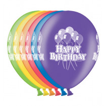 Ballon Metallic 30cm Happy Birthday Ass 6 Stuks