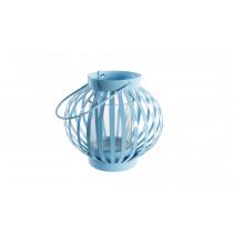Theelichthouder 10cm Blauw 10cm Diameter In Metaal En Glas