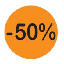 Solden Etiket 50% Fluo Jeso Cards 20Mm  Diametereter Oranje/Zwart 500  Stuks