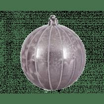 Boule De Noël Plastic Rose Poudre 8cm Diamètre Laque Glacée Bord Paillettés