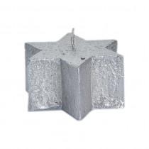 Spaas Kaars Ster Rustiek Metallic 4cm Zilver 9cm Diameter 8uur