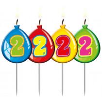 Verjaardagskaars Ballonnen Cijfer 2