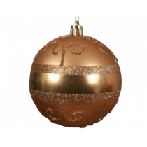 Kerstbal Plastiek Goud 8cm Diameter Messing Krul Glitters
