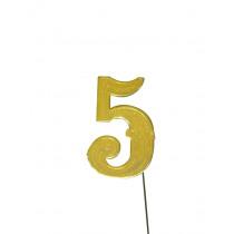 Jubileumcijfer 6,5cm Goud '5'
