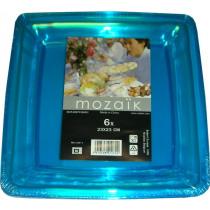 Bord Vierkant 23x23cm Mozaïk Turquoise 6 Stuks