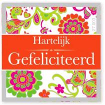 Wensetiket Gefeliciteerd Bloem NL 18 Stuks