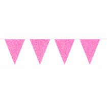 Glitter Vlaggenlijn Roze 6m