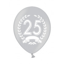 Ballon Metallic 30cm Zilver '25' 6 Stuks