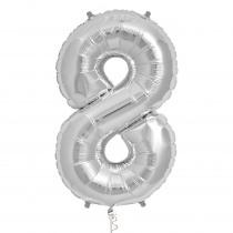 Ballon Folie 86cm Zilver '8'