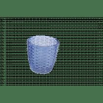 Theelichthouder 7,5cm Diepblauw 7,3cm Diameter Reliëf Wovenlook