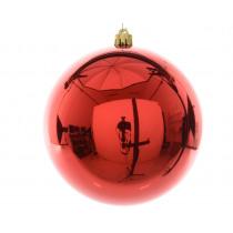 Kerstbal Plastiek Kerstrood 14cm Diameter