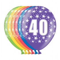 Ballon Metallic 30cm '40' 6 Stuks