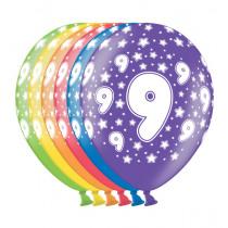 Ballon Metallic 30cm '9' 6 Stuks