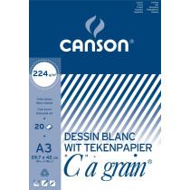 Blok Gekorreld Canson Wit 224g/m² A3 20 Vellen