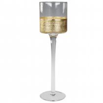THEELICHTHOUDER 30cm GOUD 9cm diam GLAS OP VOET MET GOUDEN BOORD