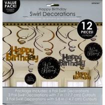 Swirl 45cm Sparkling Celebrations Happy Birthday 12 Stuks