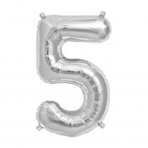 Ballon Folie 41cm Zilver '5'