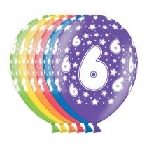 Ballon Metallic 30cm '6' 6 Stuks