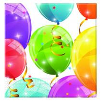 Servetten 33x33cm Sparkling Balloons 20 Stuks