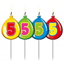 Verjaardagskaars Ballonnen Cijfer 5