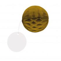 Honingraat Balletjes Goud 4,5cm Diameter Met Rond Hangertje 8 Stuks