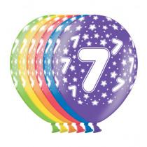 Ballon Metallic 30cm '7' 6 Stuks