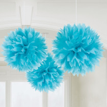 Pompon Uni 40cm Lichtblauw 3 Stuks