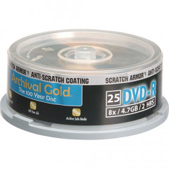 Delkin DVD-R Archival Gold spindle 25pc Scratch Armor