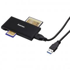 Hama USB-3.0-multi-kaartlezer, SD/microSD/CF/MS, zwart 181018