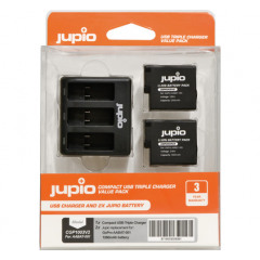 Jupio Kit 2x Battery GoPro HERO5/6/7 + Compact USB Triple Charger
