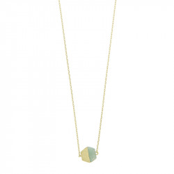 Halsketting Timi Hexagon Green Jade/gold