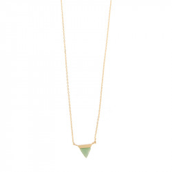 Halsketting Timi Triangle Green jade/gold