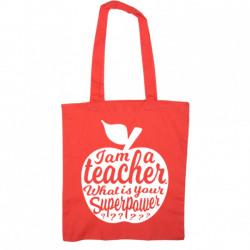 Totebag I am a teacher / rood