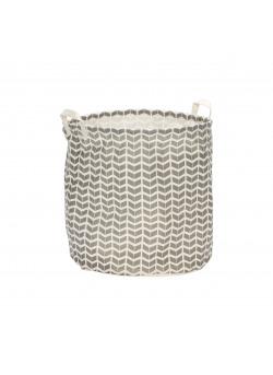Laundry basket w/pattern, handle, round, fabric, grey/white