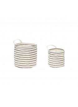 Basket w/pattern, handle, round, fabric, grey/white s,2
