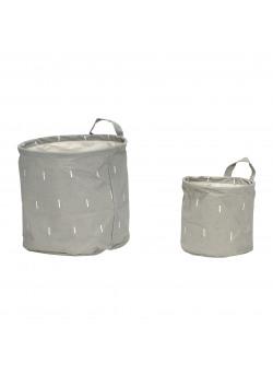 Basket w/pattern, handle, round, paper, grey/white s,2