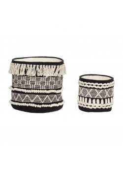 Basket, round, cotton, black/white