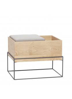 Bench w/cushion/storage, oak, nature/grey