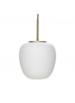 Pentant lamp, glass, white/brass