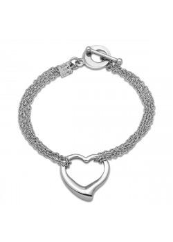armband in edelstaal, open hart tussen 4 kettingen