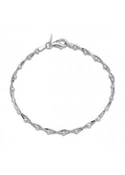 Gevlochten armband in zilver met bolletjes