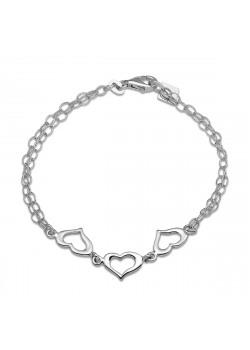 Bracelet en argent, double chaîne, 3 coeurs ajourés