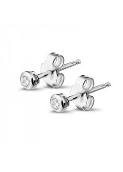 Silver earrings, 1 zirconia