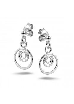 oorbellen in zilver, 3 cirkeltjes