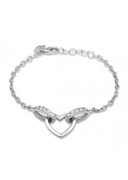 Armband in zilver, een hartje en zirkonia