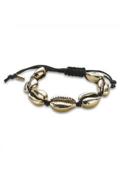 Bracelet en acier poli, coquillages couleur or, corde noire