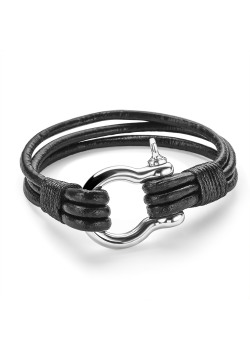 Stainless steel bracelet with 3 black leather straps