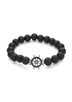Armband in edelstaal, bollen in zwarte lava met roer